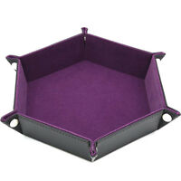 Foldable Hexagon Dice Tray PU Leather Rolling Tray for Board Games MA