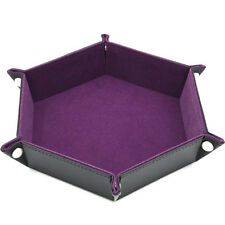 Dice Tray PU Leather Collapsible Hexagon Rolling Tray For Board Game CO