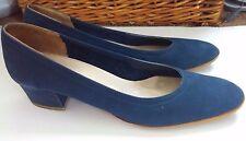 "Salvatore Ferragamo Boutique low 1.5"" heels blue suede plain pumps 6 1/2 AAA"