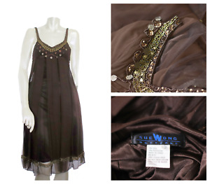 Sue Wong Dress 2 Silk Beaded Nocturne Evening Cocktail Designer Small