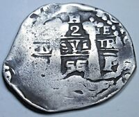 1655 Bolivia Silver 2 Reales Antique Old 1600's Spanish Colonial Pirate Cob Coin