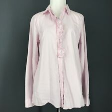 GAP Top M Pink Button Down Shirt Ruffle Blue White Tunic Striped