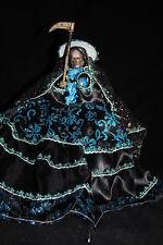 "724 ESTATUA SANTA MUERTE VESTIDO COLOR NEGRO 12"" wearing statue black-blue"