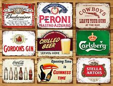 Metal signs plaques vintage retro style Gin bar Peroni mancave home wall decor