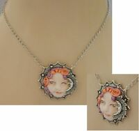 Moon Fairy Necklace Face Pendant Jewelry Handmade NEW Sculpted NEW Clay Silver