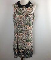 LC Lauren Conrad Womens Dress Peter Pan Neckline Sleeveless Floral Size 14