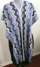 Missoni Cape Vest Shawl Scarf Zig Zag Blue Multi-Color Wool Blend One Size NWT