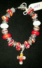 "7.5"" EUROPEAN CHARM BRACELET STERLING SILVER RED MILLEFIORI CROSS LEATHER BAND"