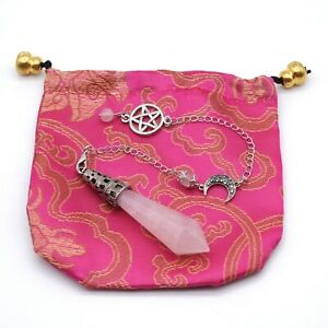 Rose Quartz Pendulum Crystal Point Chakra Dowsing Scrying Radiesthesia Silk Bag