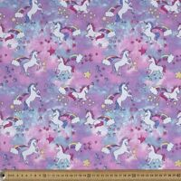 Unicorn Glitter Poplin Pink & Purple 100% Cotton Half Yard 45cm x 110cm