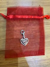 SILVER HEART CLIP ON CHARM BRACELET PURSE ZIP BAG JEWELLERY GIFT CHRISTMAS 1