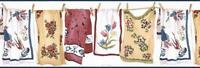 Wallpaper Border Laundry Room Country Towels on Clothesline with Clothespins
