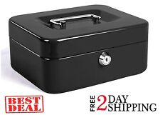Large Steel Cash Box Safe Chest Key Lock Money Document Cash Jewelry NEW