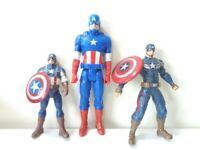 SET OF 3 CAPTAIN AMERICA MARVEL HERO TOY ACTION FIGURES - One with flying shield