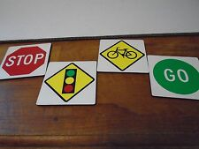 Stop Light Traffic Stoplight Go Bicycle Crossing Coasters Set of 4 Four