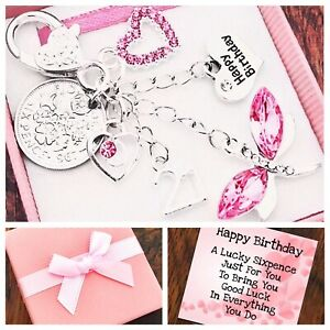 10th 11th 12th Birthday Gift, Lucky Sixpence,Pink Dragonfly 13th 15th Box & Card