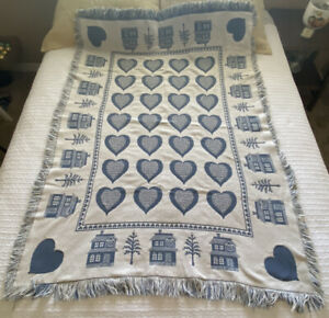 Vintage Reversible Tapestry Blanket Throw Farmhouse Heart Country Tree Fringe