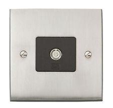MK Alloy Brushed Nickel TV / FM Single Aerial Outlet Plate Socket K5320 BNI B