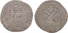 Charles VIII, blanc à la couronne, Troyes?, deux annelets croisés, RARE - 6