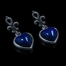 .925 Sterling Silver Natural Blue Lapis Heart Post Earrings
