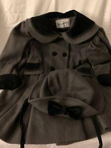 Vintage Rothschild Girls Dress Coat Dark Gray Wool with Hat 3T