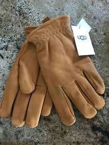 NEW NWT Mens UGG Faux Fur-Lined Suede Gloves With Tab and Rivet Brown Size XL