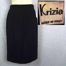 1980s Vintage BACKSTOCK NOS NWT KRIZIA Sz XS Made ITALY Black Wool Pencil Skirt