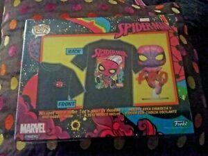 New and sealed - POP! Tees Marvel SpiderMan Blacklight funko Pop