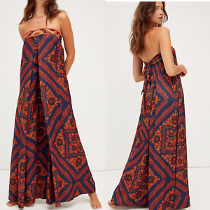 New Free People Serendipity Jumpsuit STRAPLESS WIDELEG $228 X-SMALL Blue Combo