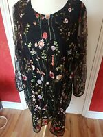 Yumi Curves Black Mesh Dress With Embroidered Flowers Plus 26