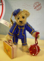 "FAB Artist Teddy ROOSEVELT BEAR CO miniature BELLHOP 3.75"" OOAK mohair luggage"