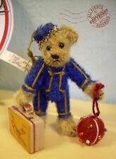 "Fab Artist Teddy Roosevelt Bear Co miniature Bellhop 3.75"" Ooak mohair luggage"