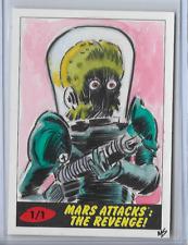 2017 TOPPS MARS ATTACKS THE REVENGE SKETCH CARD BY MATT STEWART 1/1