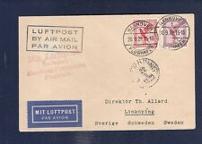34 Germany 1929 Air Mail Cover Hannover to Sweden