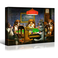 Dogs Playing Poker Canvas Wall Art Print Framed Home Room Decor Ready to Hang