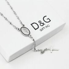 """DG Gift Inc Unisex Stainless Steel 16"""" Rosary Chain Virgin Mary With Cross + Box"""