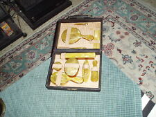 Vintage Celluloid 10 Piece Grooming Kit W/ Hard Travel Case VG !