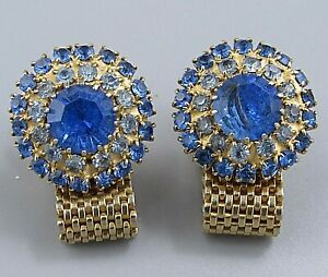 Mens Vintage Jewelry STACKED SHADES OF BLUE MESH WRAP AROUND CUFFLINKS P17
