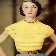 Knitting Pattern to make Womens Ladies Girls Vintage Yellow Blouse 3ply yarn