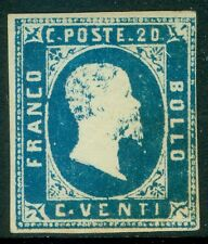 ITALY SARDINIA : 1851. Sassone #2. Very RARE stamp with full OG & Signed 'Diena'