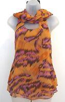 DVF Diane von Furstenberg Silk Orange Blouse Size 2