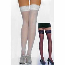 Opaque Nylon Thigh High Stockings White with Lace Tops One Size fits AU 8-12