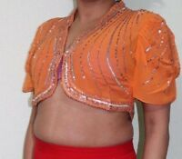 Aftershock Designer Party Orange Women's Ladies Sequence Shrug Bolero Crop Top