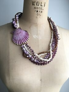 HELGA WAGNER Shell Dyed Amethyst, Coral, Pearl, Multi-strand Vacation Necklace