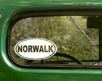 2 NORWALK DECALs Connecticut Oval Sticker For Bumper Car Truck Window Laptop