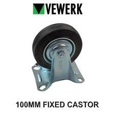 VEWERK Industrial 100mm Fixed castor Rubber Wheel X 1 9090