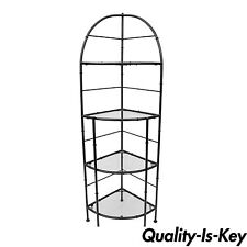 """71"""" Hollywood Regency Metal Faux Bamboo Corner Stand Bakers Rack Kitchen Etagere"""