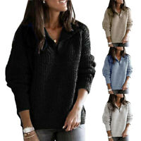 Women Ladies Pullover Knitted Sweater V-neck Zipper Loose Casual Blouse Tops
