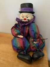 """Vintage 21"""" Hobo Circus Clown Doll Plush Hand Made Purple Top Hat Old Unique"""