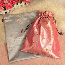 """Fashion 2pcs Chinese Handmade Embroidered """"Floral"""" Silk Clothes Pouch Shoes Bag"""